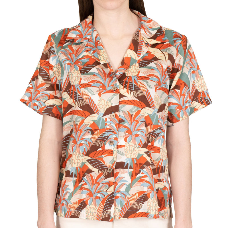 Women's - Camp Collar Shirt - Jungle Vacation - Orange / Teal - front