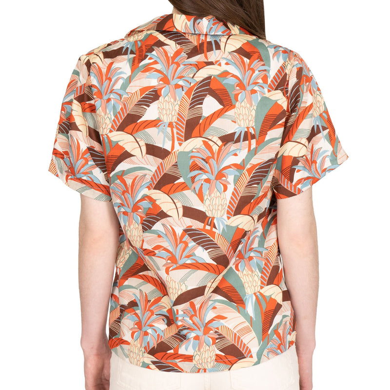 Women's - Camp Collar Shirt - Jungle Vacation - Orange / Teal - back