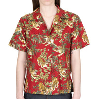 Women's - Camp Collar Shirt - Japanese Tigers - Red - front