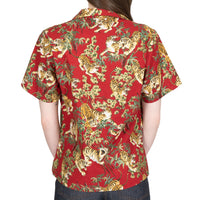 Women's - Camp Collar Shirt - Japanese Tigers - Red - back
