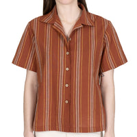 Women's - Camp Collar Shirt - Sahara Stripe - Brick - front