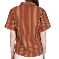 Women's - Camp Collar Shirt - Sahara Stripe - Brick - back