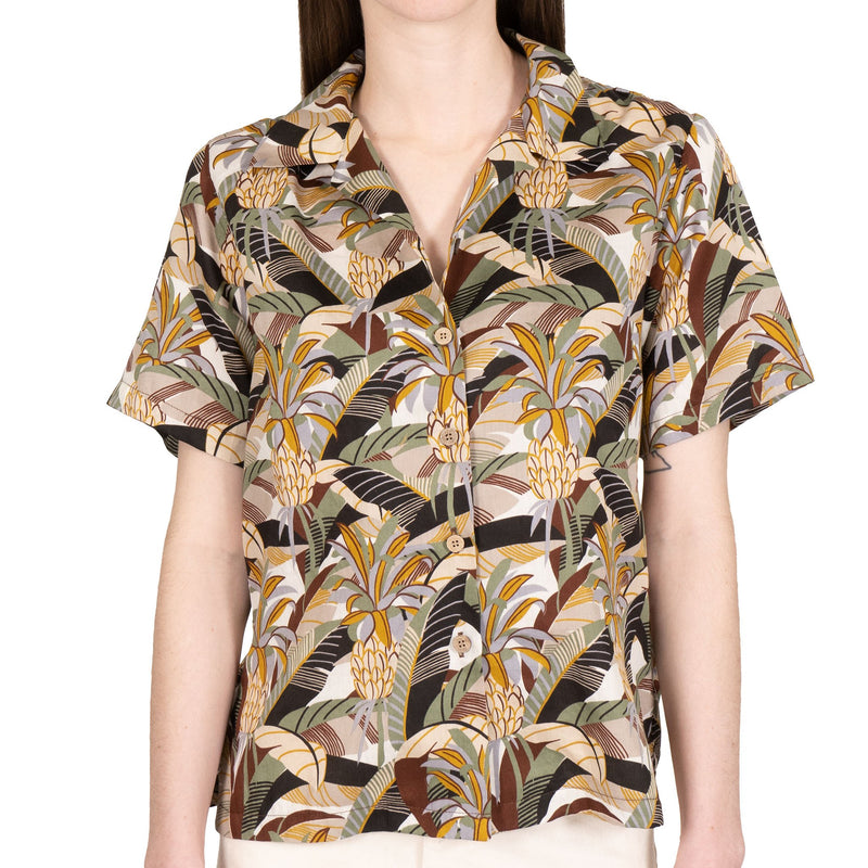Women's - Camp Collar Shirt - Jungle Vacation - Brown / Green - front
