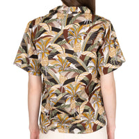 Women's - Camp Collar Shirt - Jungle Vacation - Brown / Green - back