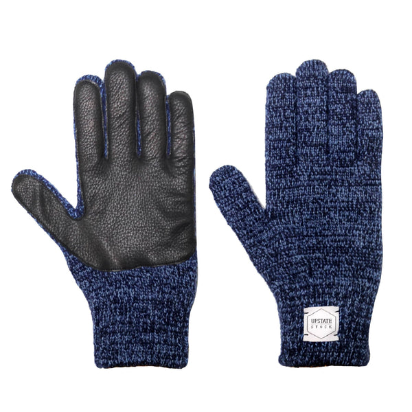 Ragg Wool Full Gloves - Denim Melange With Black Deerskin | Upstate Stock
