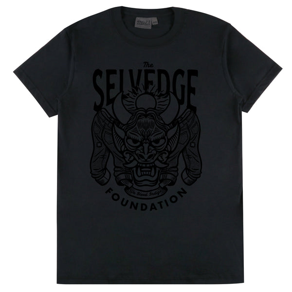 Circular Knit T Shirt Black - The Selvedge Foundation - Black Print