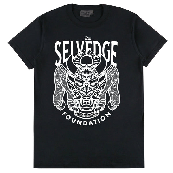 Circular Knit T Shirt Black - The Selvedge Foundation - White Print
