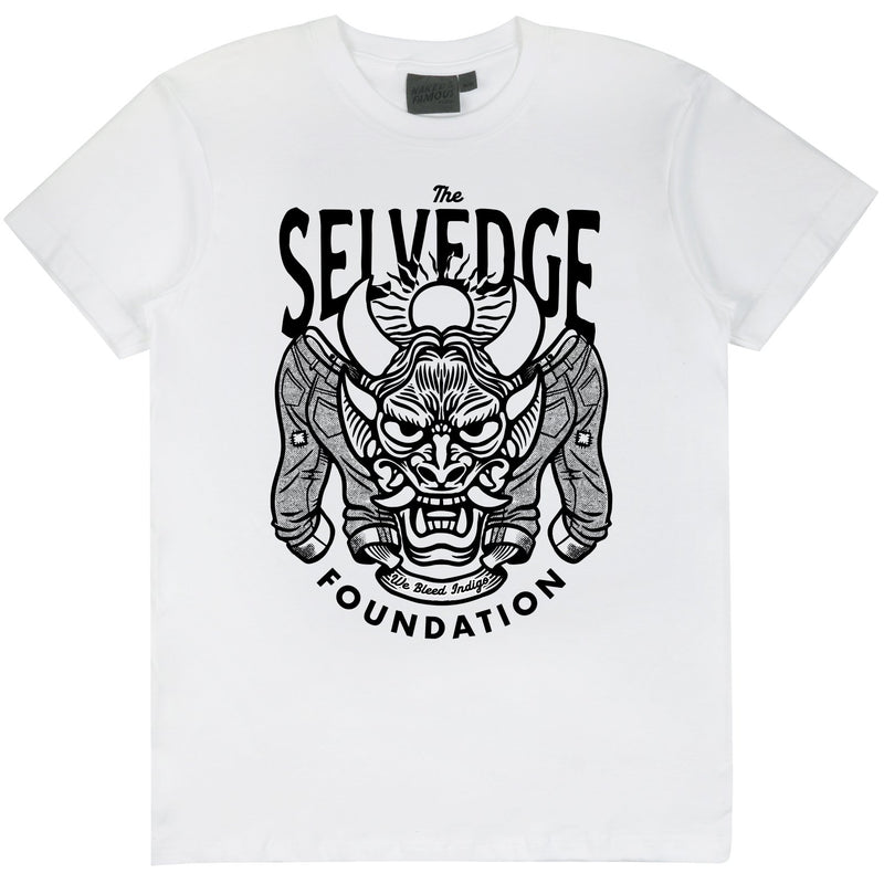 Circular Knit T Shirt White - The Selvedge Foundation - Black Print