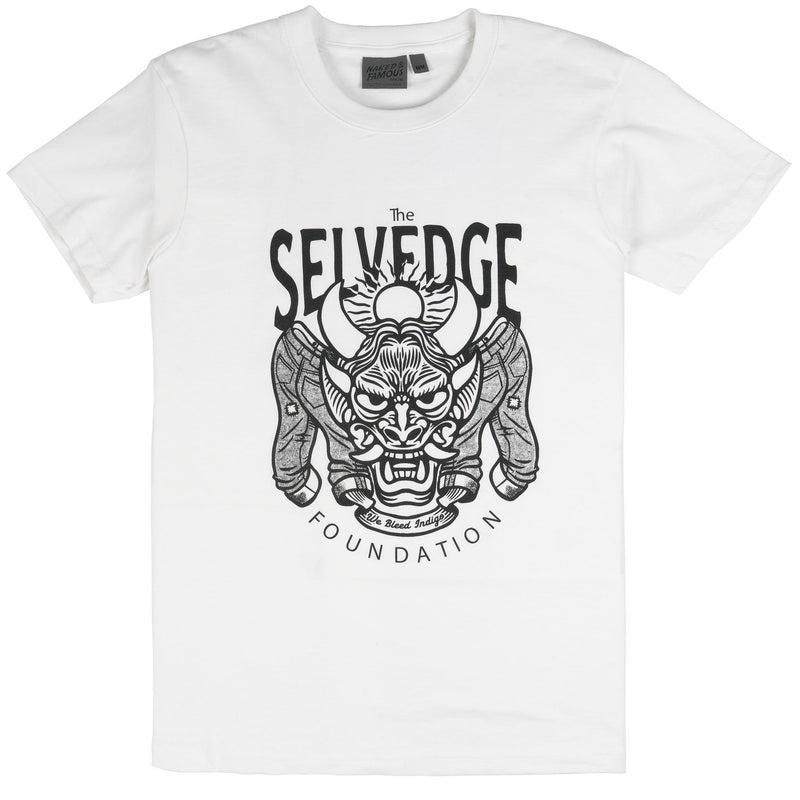 [MISPRINT] Circular Knit T Shirt White - The Selvedge Foundation - Black Print | Naked & Famous Denim