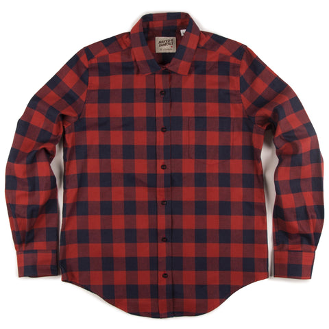 Women's - Boyfriend Shirt - Real Indigo/Red Plaid