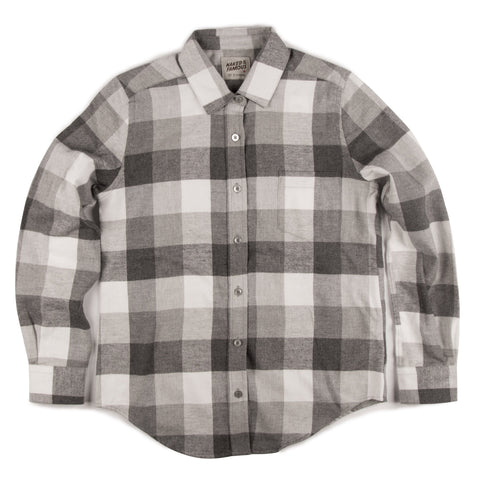 Women's - Boyfriend Shirt - Soft Buffalo Check - Grey