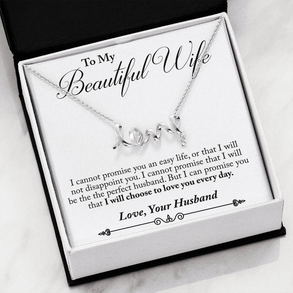Husband to Wife - Love You Everyday (Love Character Necklace)- English