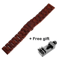 20mm 22mm Wood Watch band for huawei watch GT 2 / Galaxy 42 46mm Stainless Steel Strap Replacement Bracelet for Gear S3 S2 loop