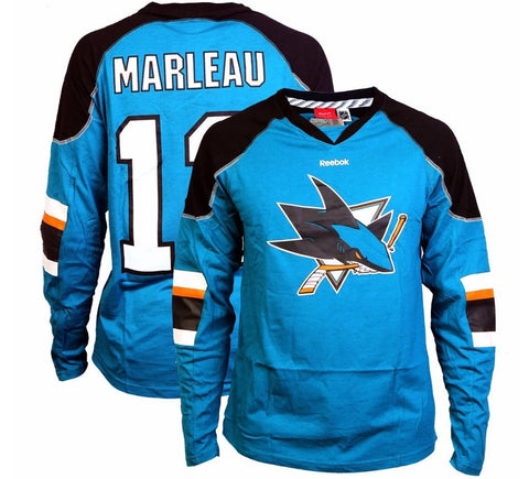Patrick Marleau Sharks LS Shirt San Jose Retro Throwback NHL Rare 90's