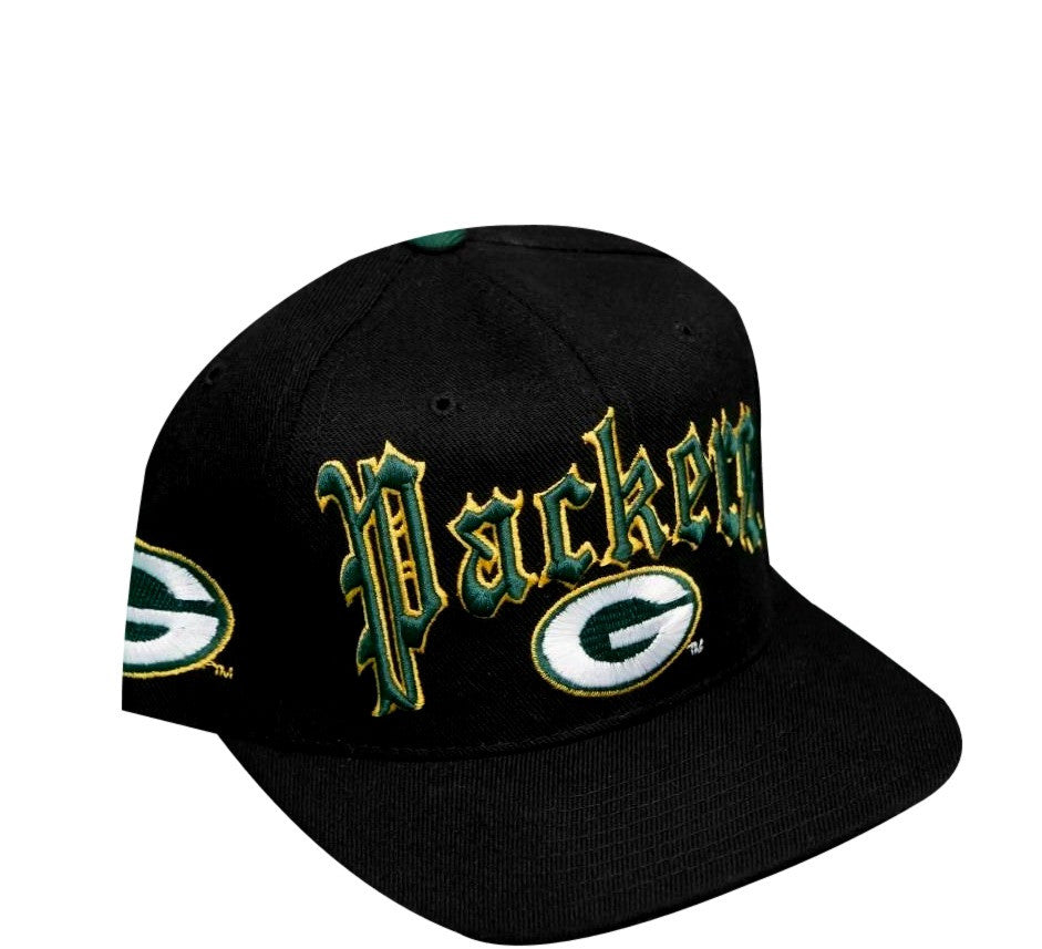 8beb9566182 Packers Vintage Snapback Hat Green Bay Old English 90 s Rare NFL ...
