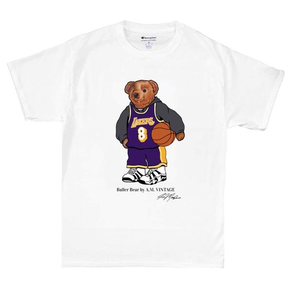 """Baller Bear"" Kobe Champion T-Shirt (white)"