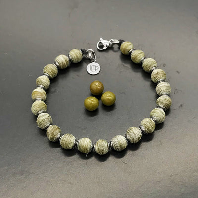 (Hand Sanded) Olive Green beads made of recycled tennis racquet strings