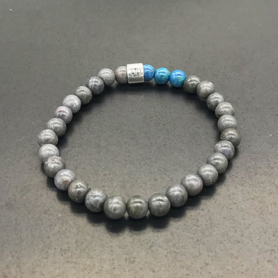 Bracelet - Gray and 3 coloured beads