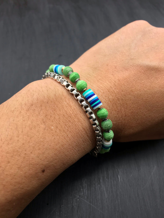 (Brushed Finish) Green beads made of recycled tennis racquet strings + Blue toned Fimo beads