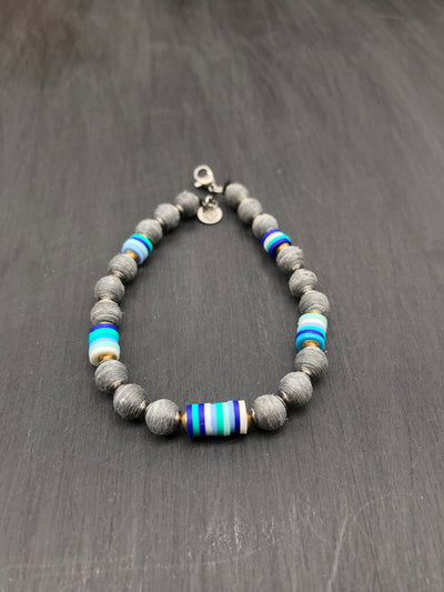 (Brushed Finish) Gray beads made of recycled tennis racquet strings + Blue toned Fimo beads