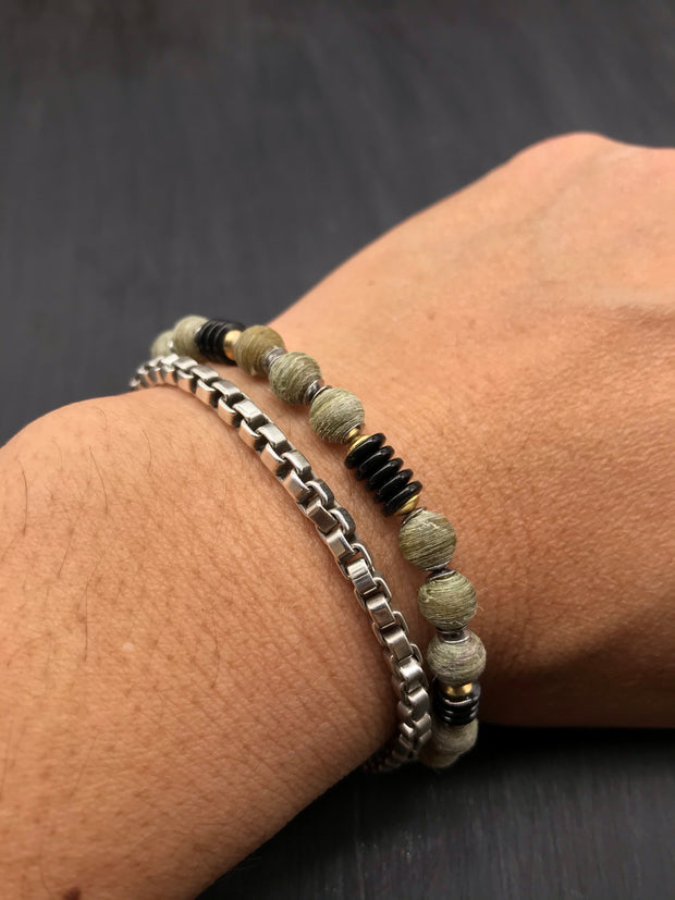 (Brushed Finish) Olive Green beads made of recycled tennis racquet strings + Hematite beads in graphite plating