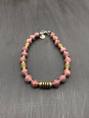 (Brushed Finish) Red beads made of recycled tennis racquet strings + Hematite beads in gold plating