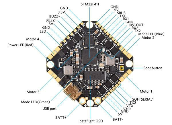 BetaFPV Toothpick F4 2-6S 35A All-in-One Flight Controller