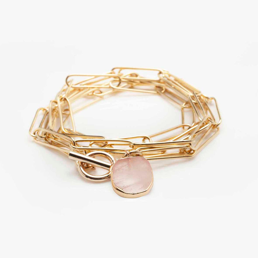 Collier Lutetia Quartz rose
