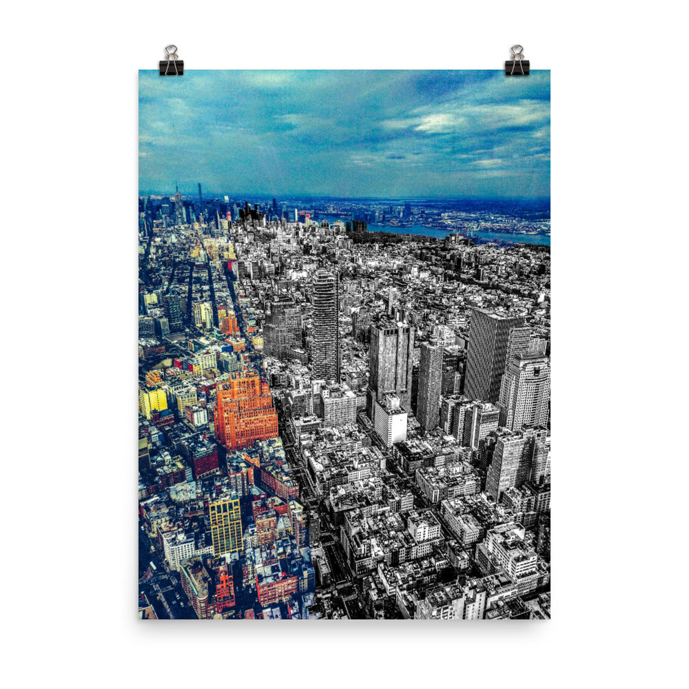 New York From Above B&W/Color Mashup Poster