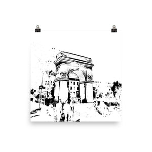 NEW YORK Washington Square Arch Black and White Poster