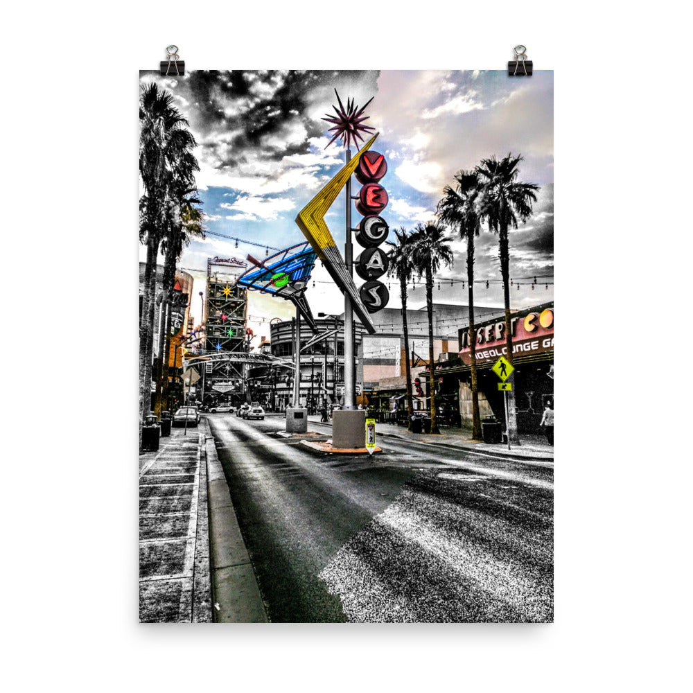 Fremont Street Las Vegas Sign Color/B&W Photograph Mashup Poster