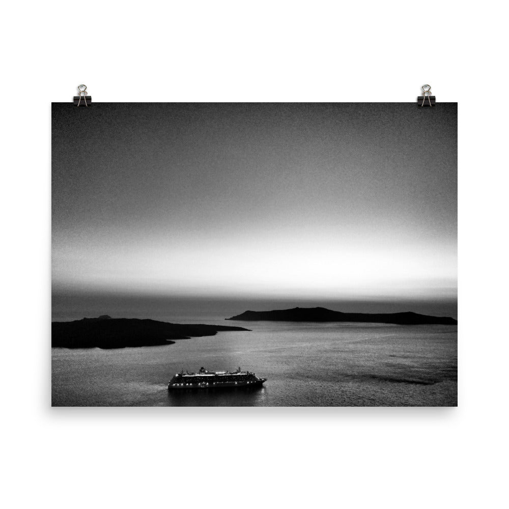 SANTORINI CRUISE SHIP B&W PhotographPoster