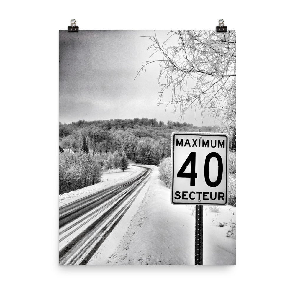A Quiet Country Road in Winter B&W Photograph Poster