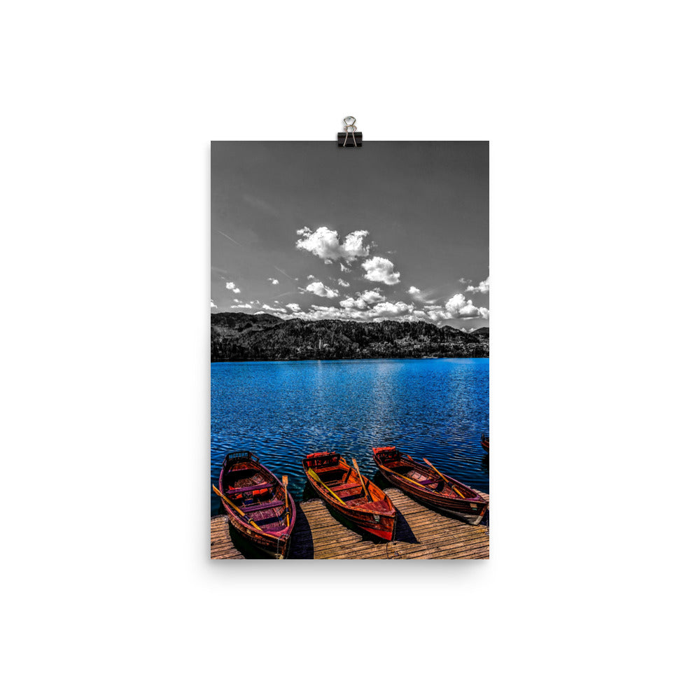 Lake Bled Row Boats Color/B&W Photograph Mashup Poster