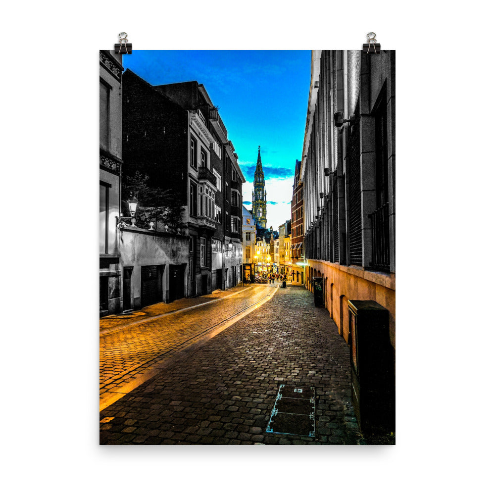 Path to La Grand-Place in Brussels Color/B&W Photograph Mashup Poster
