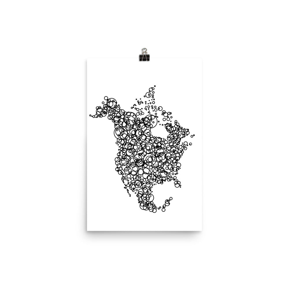 NORTH AMERICA Circles Map Poster