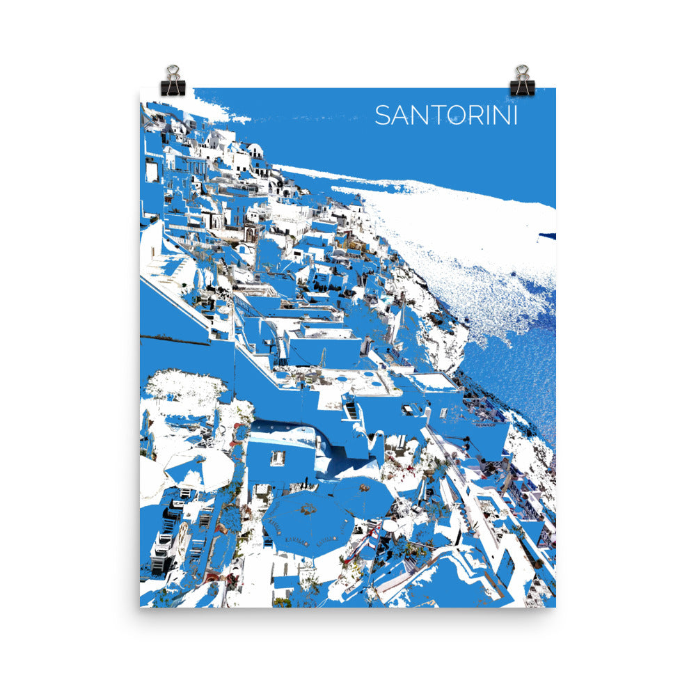 SANTORINI Travel Art Poster