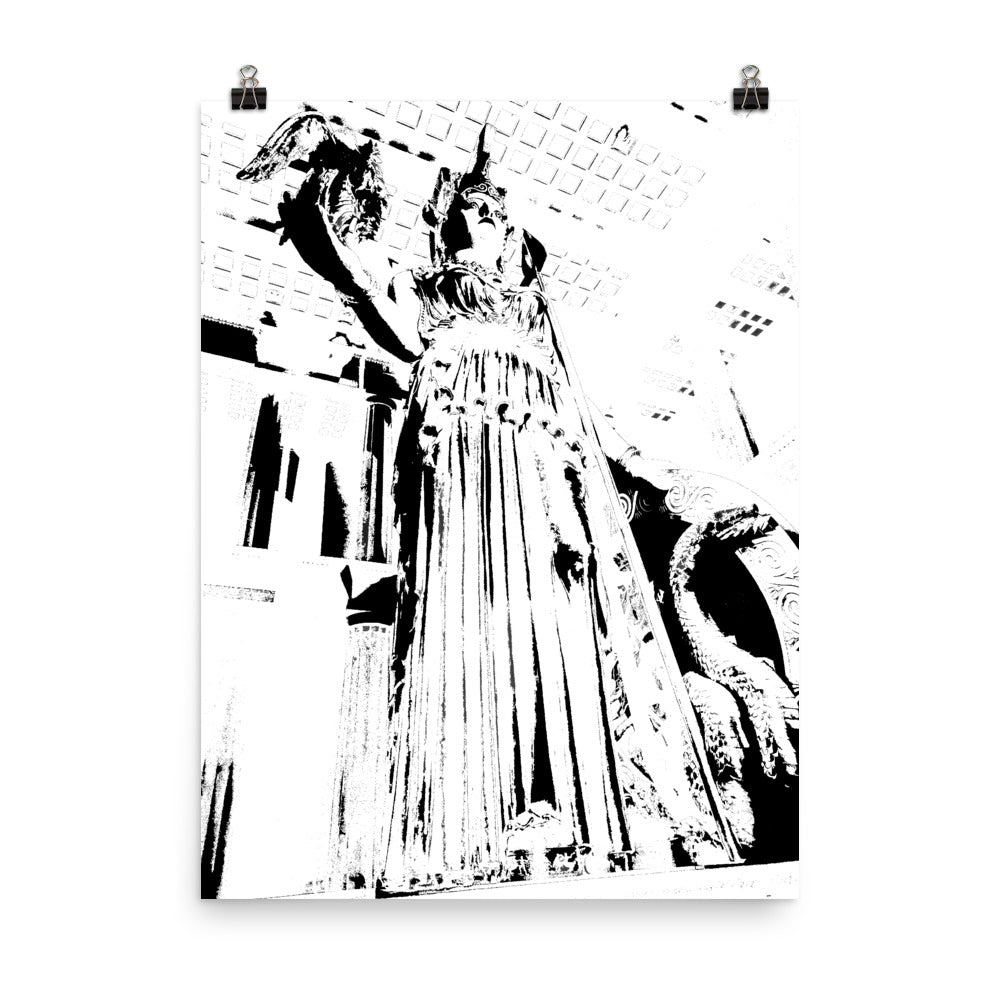 NASHVILLE PARTHENON Lady Black and White Art Poster