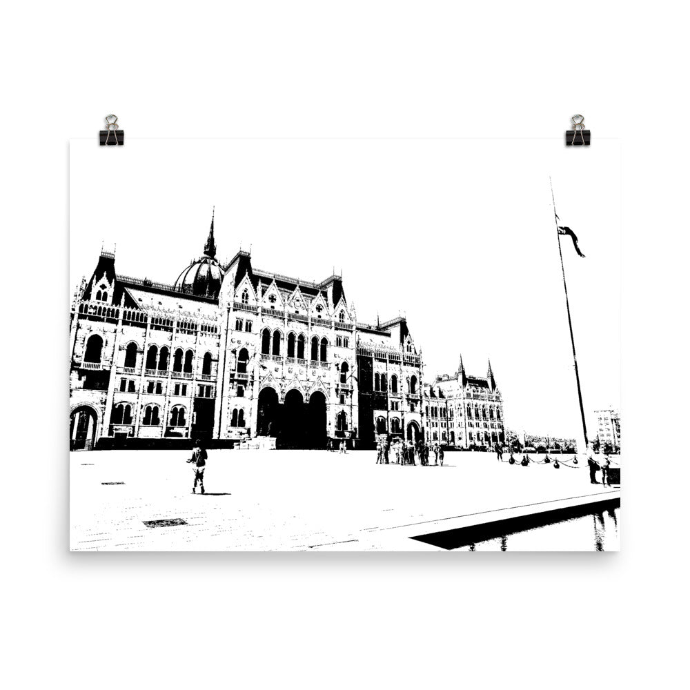 BUDAPEST Hungarian Parliament Black and White Poster