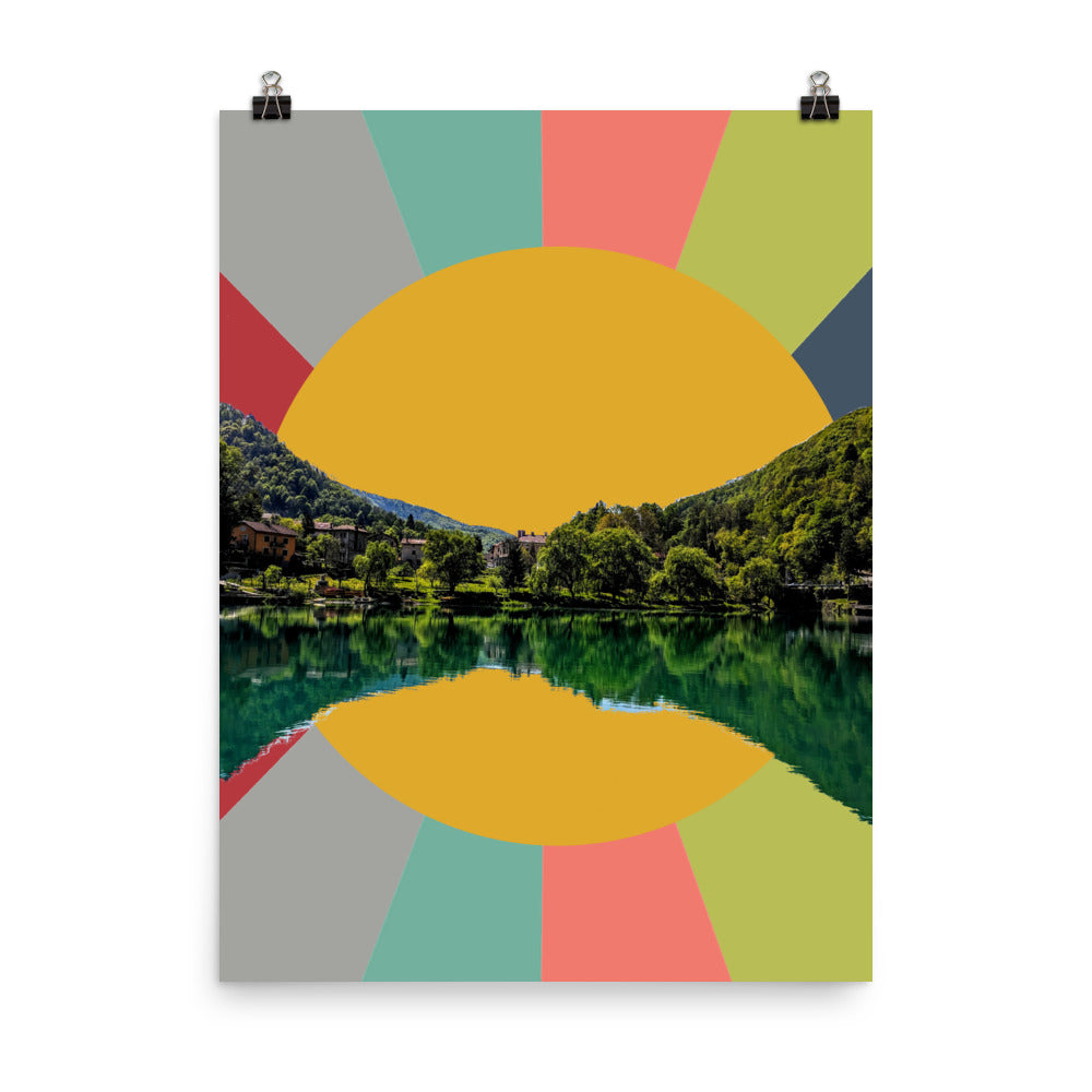 MID CENTURY MODERN SUNSET in Most Na Soci Poster
