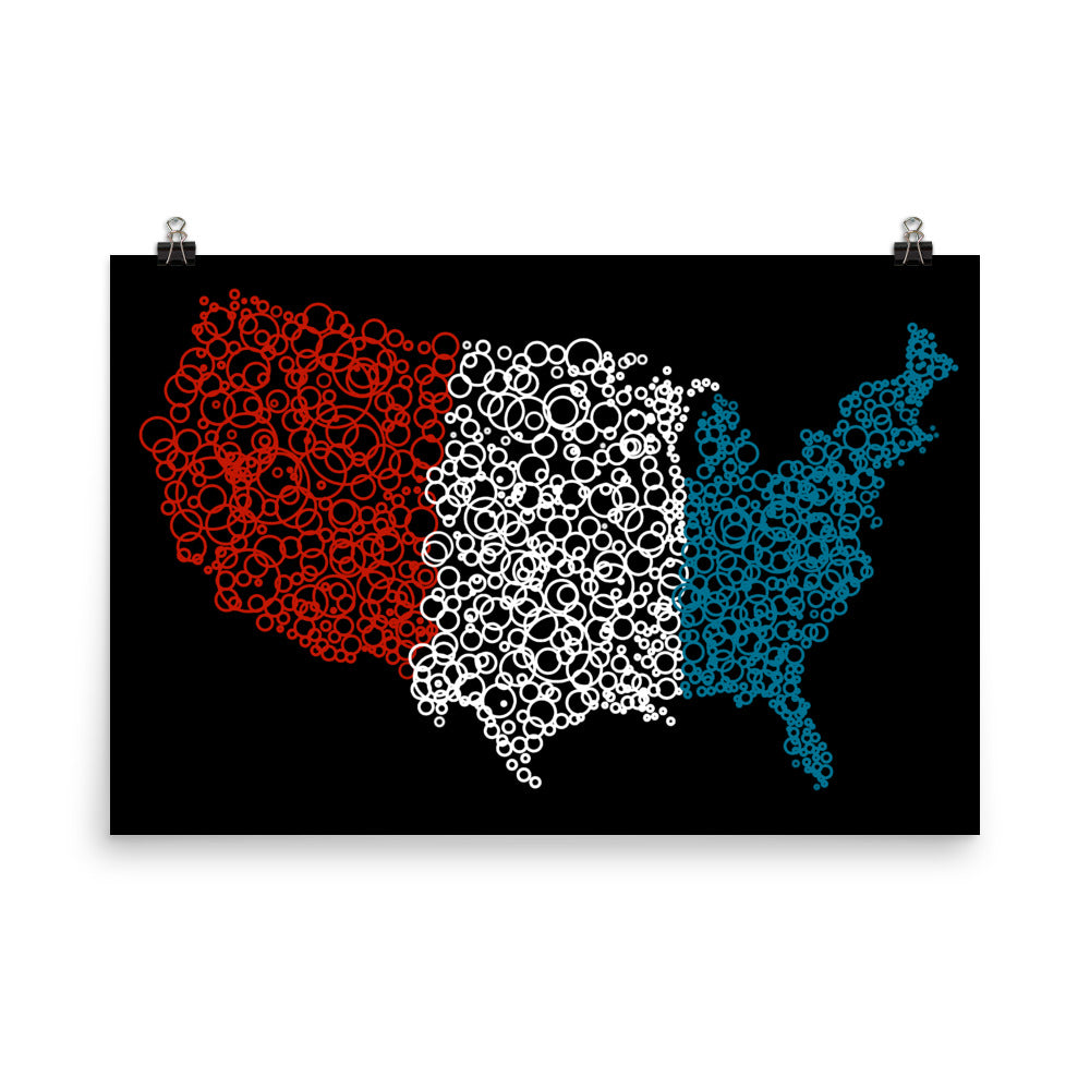 USA Flag Map Poster