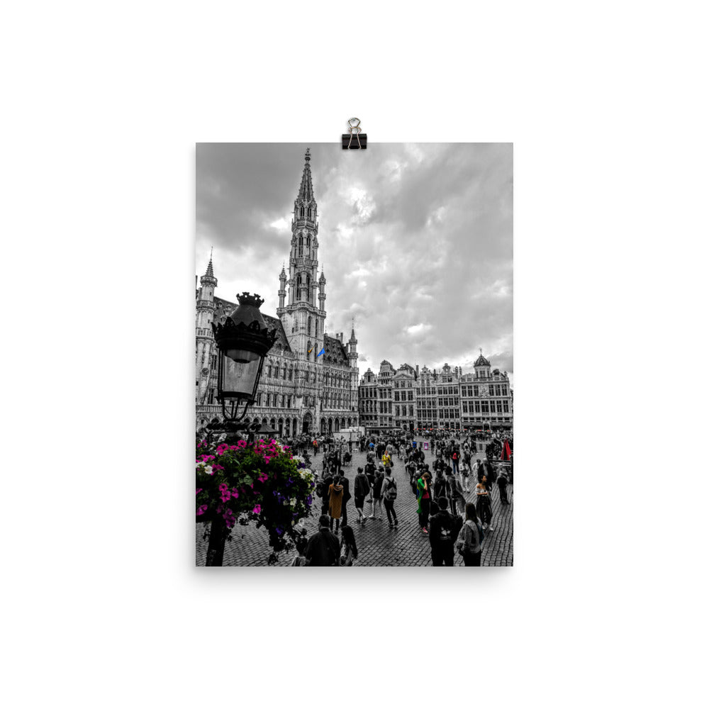 Brussels Grand Place Colour/B&W Photograph Mashup Poster
