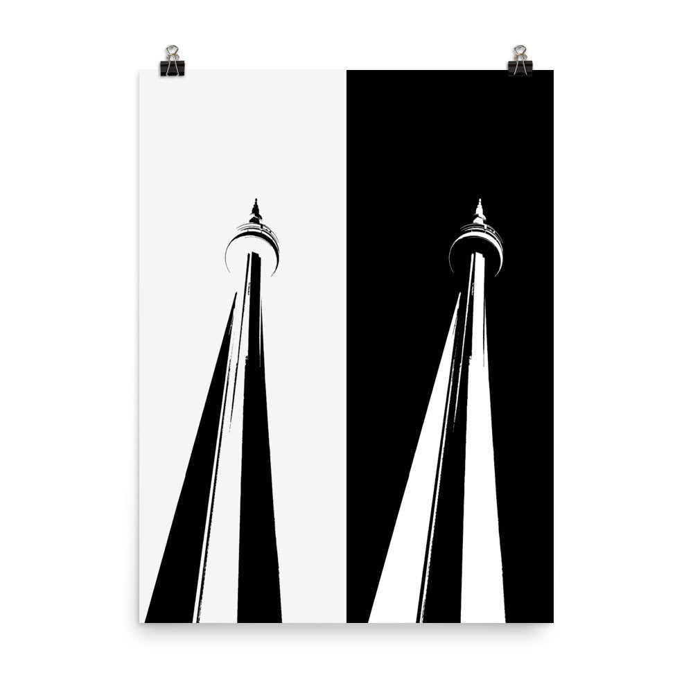 TORONTO CN TOWER Pop Art Black and White Poster