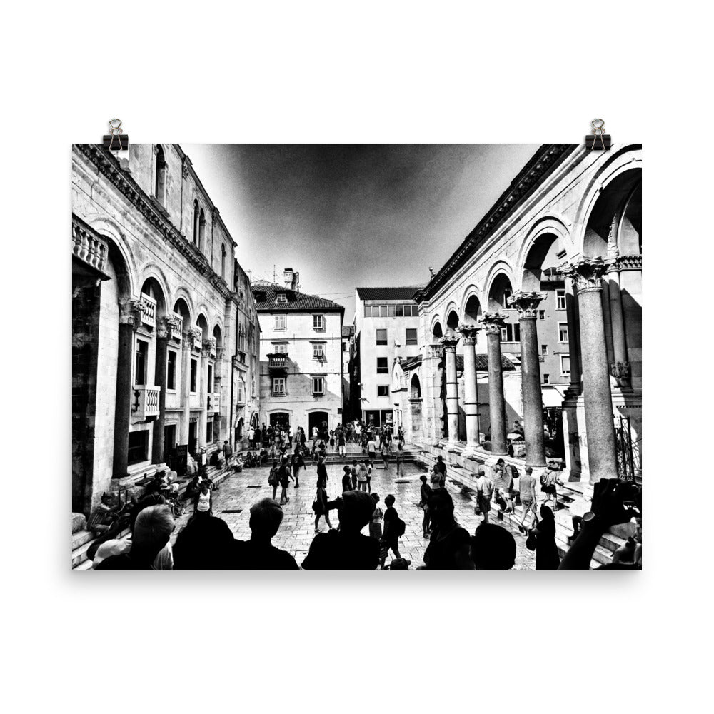 Split, Croatia City Square B&W Photograph Poster
