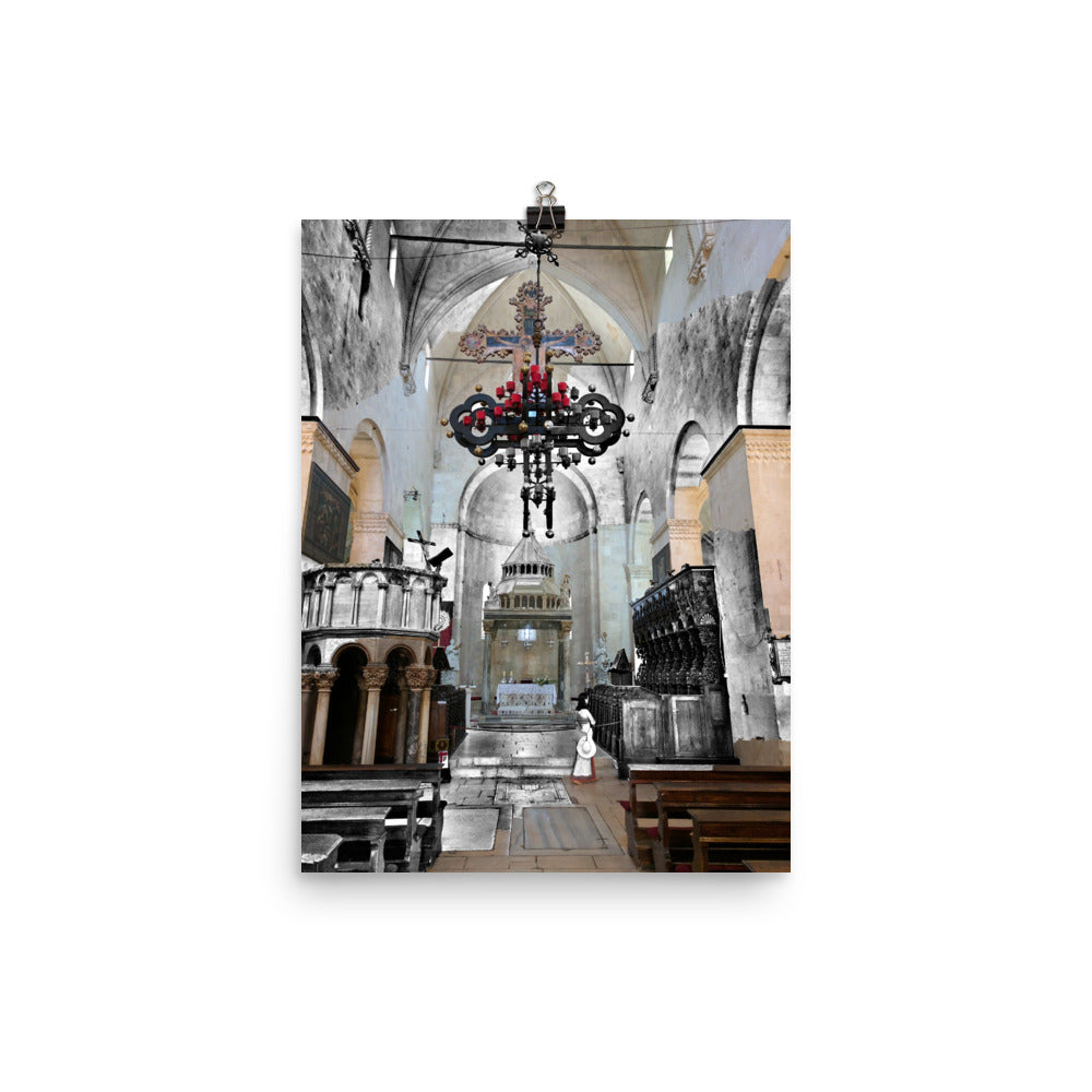 Trogir, Croatia Church Colour/B&W Photograph Mashup Poster