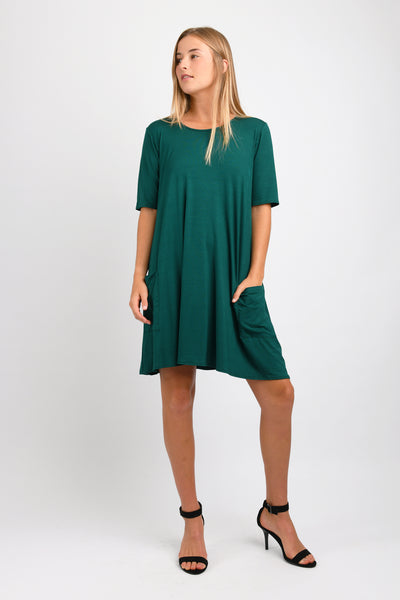 Basic T-Shirt Dress (Hunter Green)