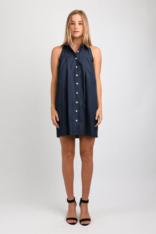 Lani Button Down Tank Dress (Denim)