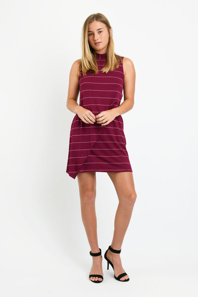 Winnie Dress (Wine Stripe)