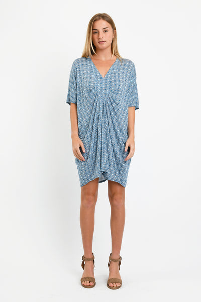 Jade Pleated Kaftan Dress (Blue Hexagon)
