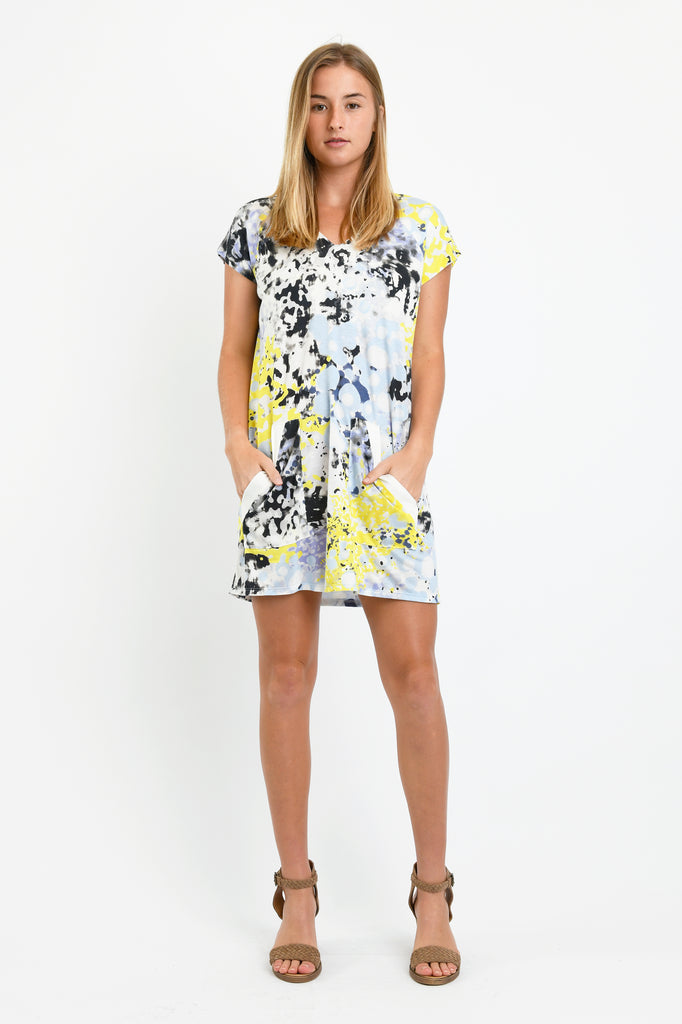 1ac2b0966be7 Dawn V-Neck Dress (Yellow Ink Blot) – Ten Tomorrow
